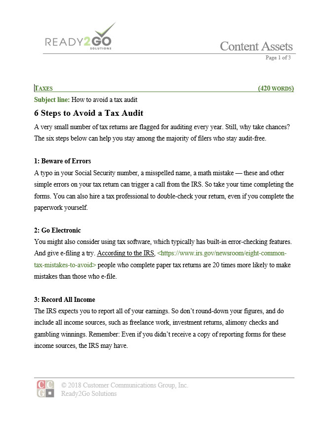 6 Steps To Avoid A Tax Audit