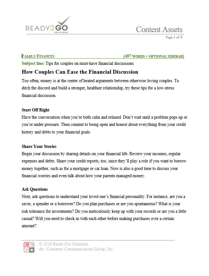 How Couples Can Ease the Financial Discussion