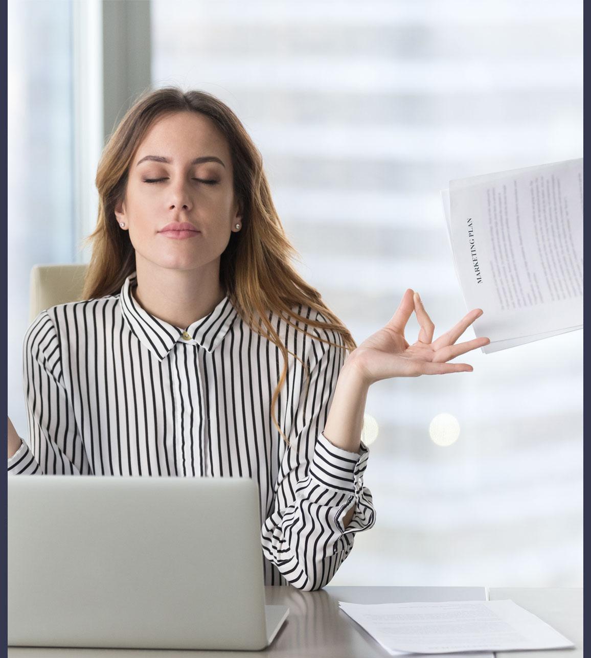 Lady in zen over marketing plan.
